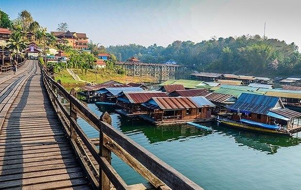 ลักษณะสถานที่ท่องเที่ยว สะพานมอญสังขละบุรี